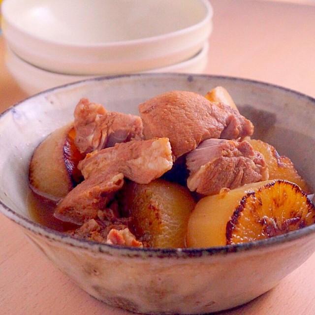 こんがり焼き大根と豚肉のコトコト煮