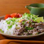 温玉のせ茹でレタスと牛肉ののっけごはん