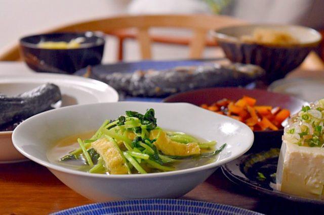 水菜と揚げの煮びたし