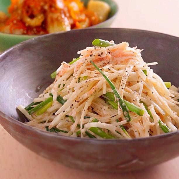 大根と葱の明太マヨサラダ