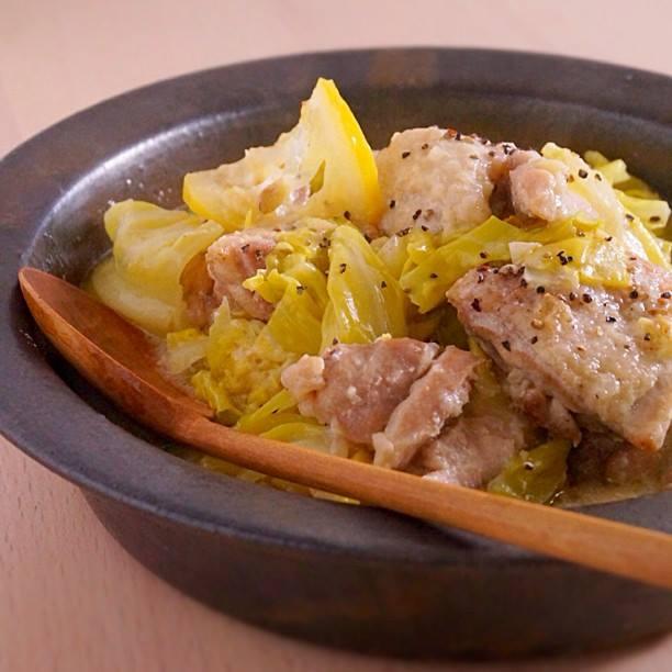 さわやかなひと皿、鶏肉とキャベツの豆乳レモンクリーム煮