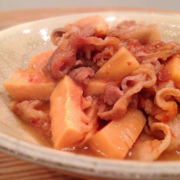 甘めの味付けでご飯がすすむ!たけのこと豚ばら肉の炒め煮