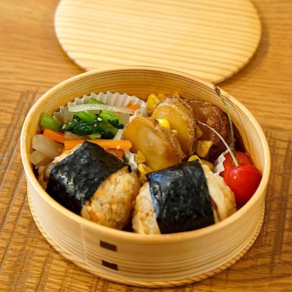 2019/7/5 おべんとうメモ。鮭ときのこの炊き込みご飯弁当