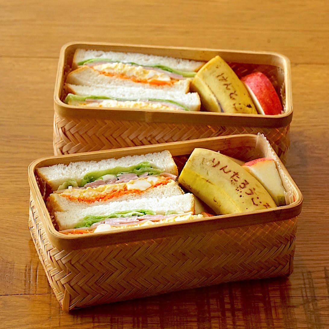 きょうの曲げわっぱ(でない)べんとう、サンドイッチ弁当[2021.3.3]
