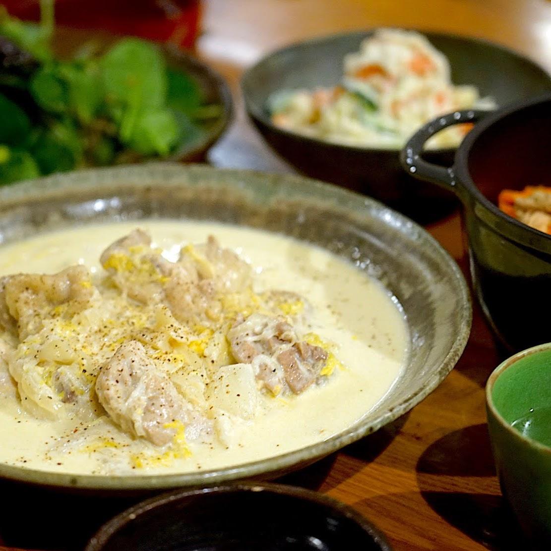 きのうの献立メモ。鶏肉と白菜のクリーム煮定食(2021.2.23)